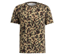 T-Shirt - khaki/ schwarz/ braun