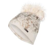 Mütze mit Pelzbommel - wollweiss/ bronze