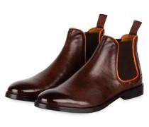 Chelsea-Boots AMELIE - BRAUN/ ORANGE