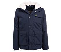 Jacke mit Besatz in Felloptik - dunkelblau