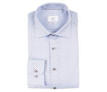Natté-Hemd Modern-Fit - weiss/ blau