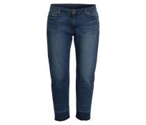 Cropped-Jeans - vintage blue wash