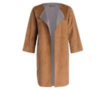 Mantel in Velourslederoptik - braun