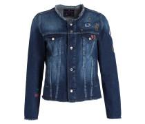 Jeansjacke mit Stickereien - blau