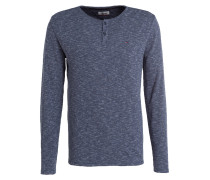 Henley-Shirt - blau meliert