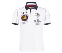 Jersey-Poloshirt - weiss/ navy