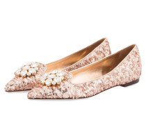 Ballerinas mit Paillettenbesatz - rosé