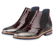 Chelsea-Boots - bordeaux/ silber