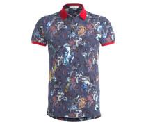 Piqué-Poloshirt - blau/ rot