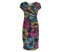 Kleid in Wickeloptik - schwarz/ pink/ mint