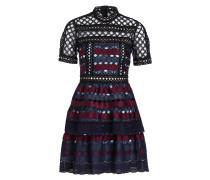 Kleid - marine/ bordeaux/ hellblau