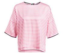 Seidenbluse - pink/ ecru gestreift