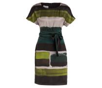 Seidenkleid - petrol/ grün gestreift