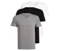 3er-Pack T-Shirts - grau/ schwarz/ weiss