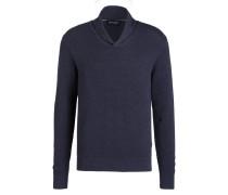 Pullover mit Schalkragen - dunkelblau