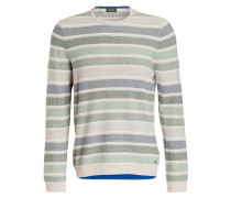Pullover - blau/ grün/ weiss