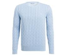 Pullover mit Zopfmuster - hellblau