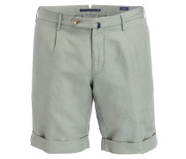 Shorts Slim-Fit mit Leinenanteil - gelb