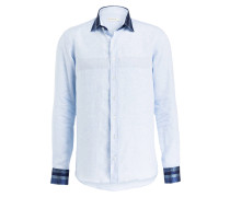 Leinenhemd - hellblau meliert