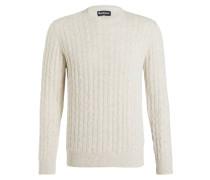 Pullover mit Zopfmuster - ecru meliert