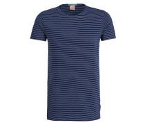 T-Shirt mit Überlänge - blau/weiss