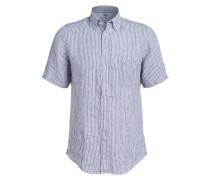 Halbarm-Leinenhemd Casual-Fit - blau