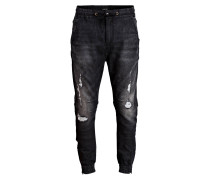 Destroyed-Cuffed-Jeans Slim-Fit