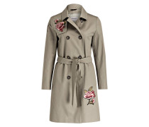 Trenchcoat mit Patches - oliv