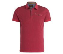 Jersey-Poloshirt - rot/ dunkelgrau