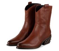 Cowboy Boots mit Nietenbesatz - BRAUN