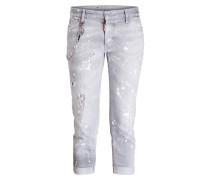 Cropped-Jeans - grau