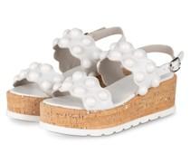 Plateau-Sandalen mit Nietenbesatz - WEISS