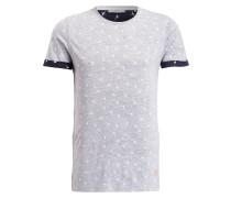 T-Shirt - grau meliert/ weiss/ navy