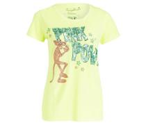 T-Shirt mit Paillettenbesatz - neongelb