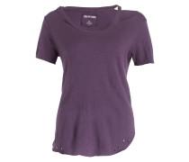 T-Shirt mit Leinenanteil - lila meliert