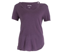 T-Shirt mit Leinenanteil - rot