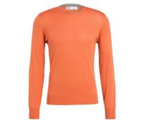 Cashmere/Seide-Pullover - orange
