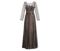 Kleid mit Glitzer und Tüllblütenbesatz