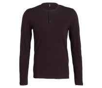 Henley-Shirt - pflaume/ navy gestreift
