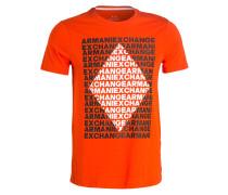 T-Shirt - orange/ weiss/ schwarz