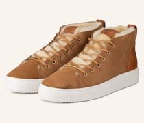 Sneaker mit Lammfell - COGNAC