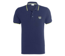 Piqué-Poloshirt - dunkelblau/ neongelb