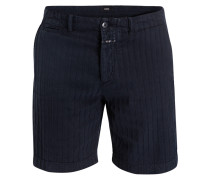 Shorts mit Leinenanteil - navy