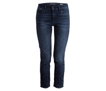 Skinny-Jeans SOPHIE mit Samtbesatz - blau