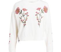 Sweatshirt mit Stickereien - offwhite