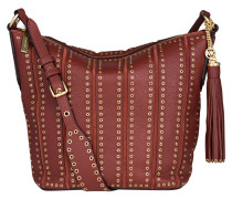 Hobo-Bag mit Nieten - rot