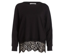 Pullover mit  Spitzeinsaum - schwarz
