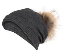 Cashmere-Mütze mit Pelzbommel - dunkelgrau