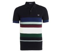 Piqué-Poloshirt - navy/ grün/ weiss