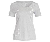 T-Shirt - grau meliert/ weiss